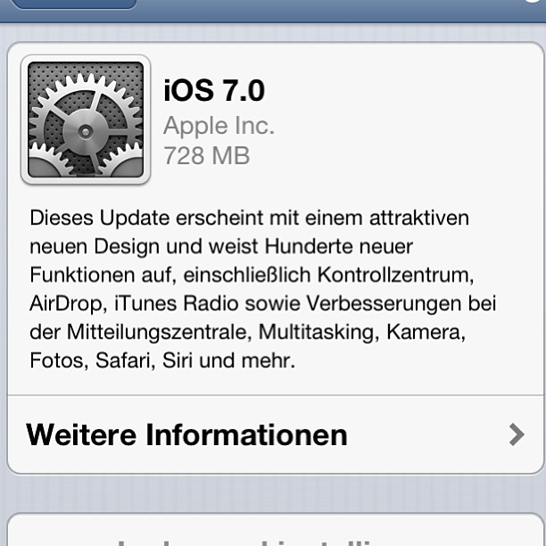 Instagram-Photo: #ios7 Update verfügbar
