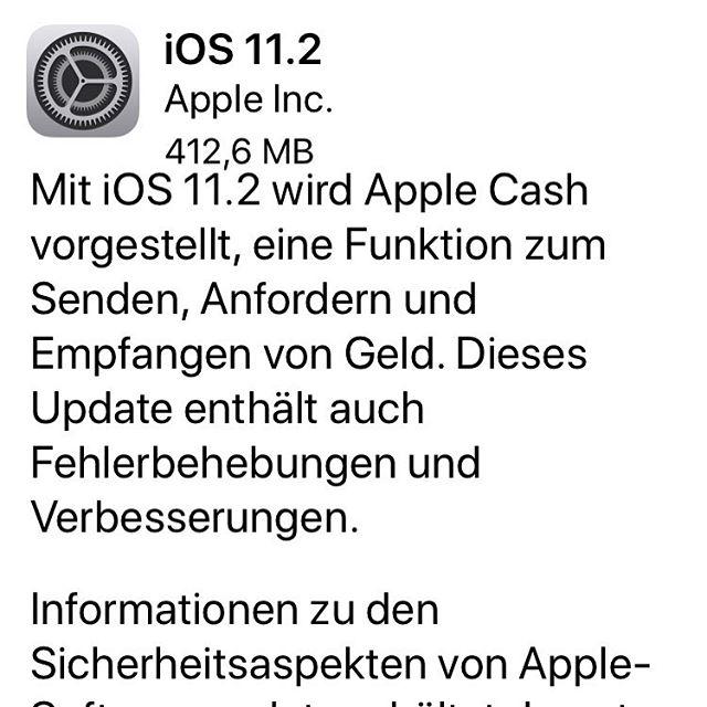 iOS 11.2 verfügbar. Jetzt mit Apple Cash