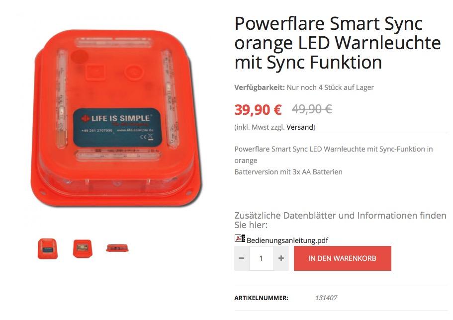 powerflare smart sync orange led warnleuchte mit sync funktion. Black Bedroom Furniture Sets. Home Design Ideas